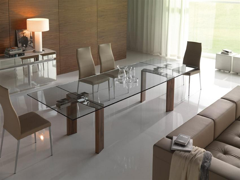 tavoli da soggiorno in cristallo: tavoli soggiorno vetro da pranzo ... - Tavolo Allungabile Con Sedie